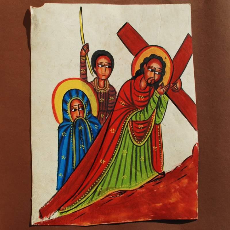 Ethiopian Religious Leather Painting Handpainted Unique